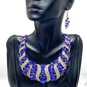Blue Crystal Statement Pageant Bridal Necklace Set